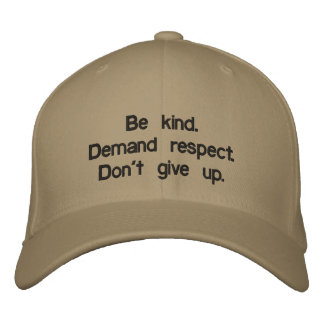 Custom Baseball Cap saying don't give up.