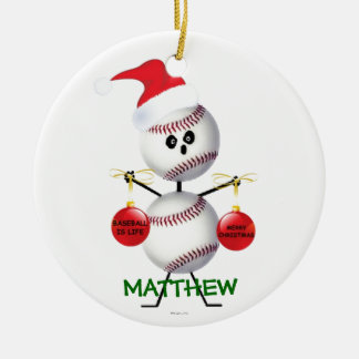 Custom Baseball Christmas Ceramic Ornament