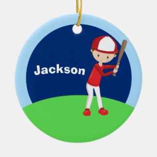 Custom Baseball Kid Ceramic Ornament