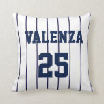 "Custom Baseball Pinstripe Uniform Jersey Pillow<br><div class=""desc"">For the baseball fan in your life- perfect addition to any boy&#39;s bedroom or even man cave!  Customize for name and number.  Play Ball!!</div>"