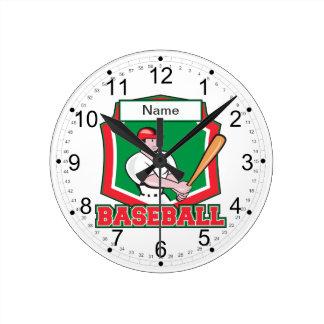 Custom Baseball Player Round Clock