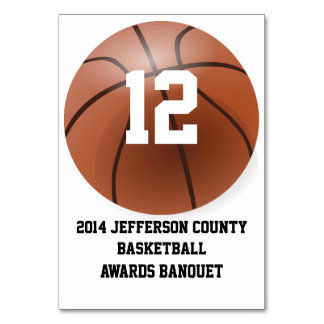 Custom Basketball Banquet Table Number Card