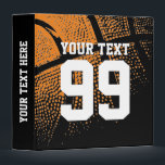 """Custom basketball binder with sports jersey number<br><div class=""""desc"""">Custom basketball ring binder with sports jersey number for coach and player. Personalized basketball binder for card collectors (no sleeves), coach and more. Customizable name and background color ie orange. Organize your sports player card collection, notes etc. Cute birthday gift idea for coach, teen boys and girls. Make one for...</div>"""