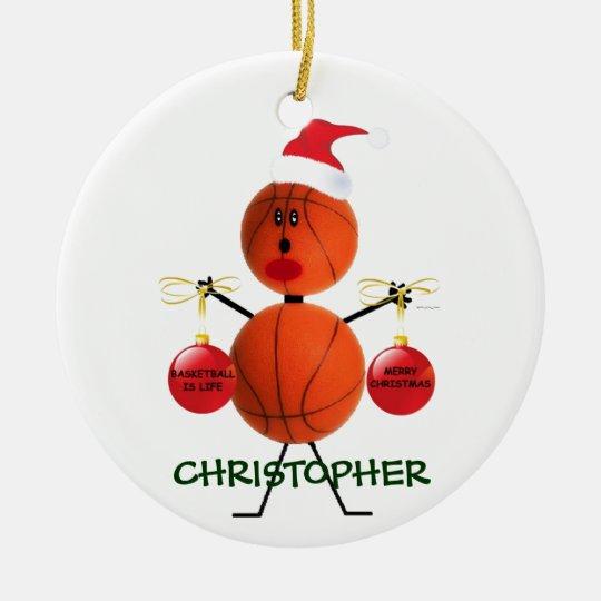 Custom Basketball Christmas Ceramic Ornament