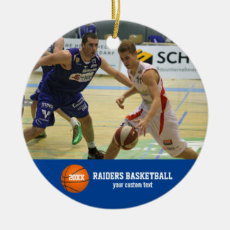 Custom Basketball Photos Player Team Name Year Ceramic Ornament