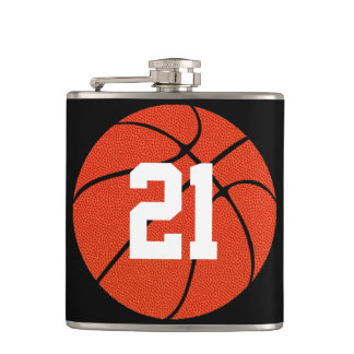 Custom Basketball Player Jersey Number Hip Flask