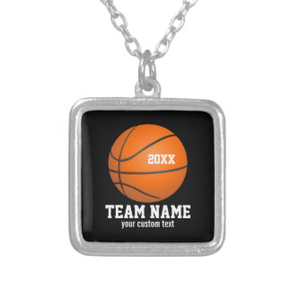 Custom Basketball Player & Team Name Jersey # Year Silver Plated Necklace