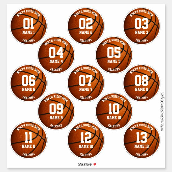 custom basketball players set of 3 inch stickers