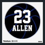"""Custom Basketball Round Wall Decal (Blue)<br><div class=""""desc"""">Custom Basketball Round Wall Decal (Blue): Create your own customized wall decal by simply typing any number and name in the text boxes. These would be great in the locker room,  as a special gift for basketball seniors,  or just as a wall decoration.</div>"""