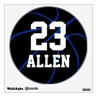 Custom Basketball Round Wall Decal (Blue)