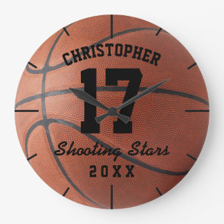 Custom Basketball Sport Name Number Personalizable Large Clock