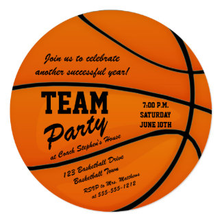 "Custom Basketball Team Party 5.25"" Square Invitation Card"