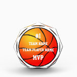 """Custom Basketball Team Player MVP Acrylic Award<br><div class=""""desc"""">Orange basketball graphic icon in background with white text,  &quot;#1,  Team Name*,  Team Player Name*,  MVP&quot;.  *Both can be personalized using the templates at right.  Just change text and buy it now.</div>"""