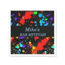 Custom Bat/Bar Mitzvah, Paint Splatter Paper Napkin