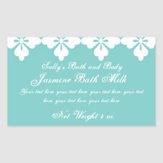 Custom Bath and Body Product Label Teal Rectangle Rectangular Sticker