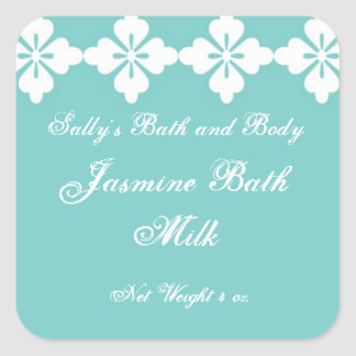 Custom Bath and Body Product Label - Teal Square Square Sticker