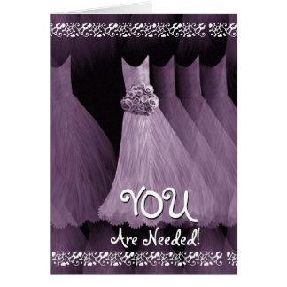 Custom Be My Greeter Wedding Invite - PURPLE Gowns Greeting Card