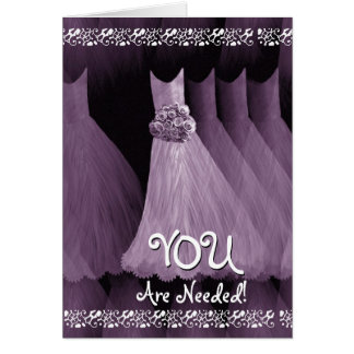 Custom Be My JUNIOR BRIDESMAID - PURPLE Gowns Cards
