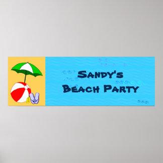 Custom Beach Ball Pool Umbrella Party Poster