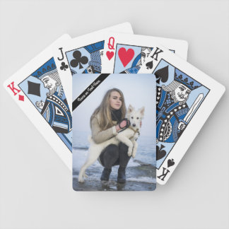 Custom Beach Dog and Girl  Photo template Bicycle Playing Cards