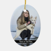 Custom Beach Dog and Girl  Photo template Ceramic Ornament