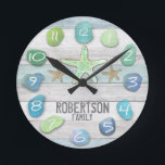 "Custom Beach Glass Look Wall Clock<br><div class=""desc"">Add a name to this beach glass wall clock to make a gift they will love.</div>"