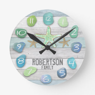 Custom Beach Glass Look Wall Clock