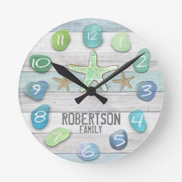 Beach Themed Custom Beach Glass Look Wall Clock