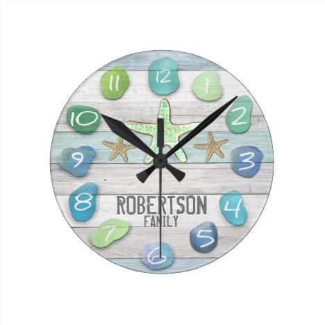 Custom Beach Glass Look Wall Clock