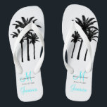 "Custom Beach Jamaica Wedding Flip Flops<br><div class=""desc"">A great welcome gift for your guests. Provide footwear for your guests for the beach ceremony. Elke Clarke &#169; Custom Monogram Travel Wedding Flip Flops for Beach Weddings. Customize with your names, date, monogram, married last name initial and destination. Matches the personalized wedding beach tote bag in our store which...</div>"