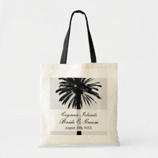 Custom beach palm destination wedding tote bags