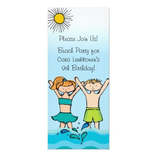 Custom Beach Party Birthday Invitations