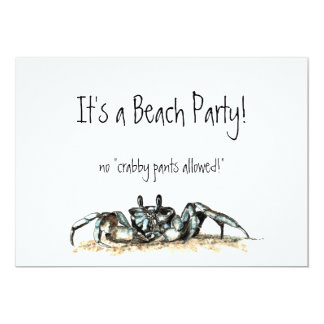 Custom Beach Party Invite no crabby pants allowed