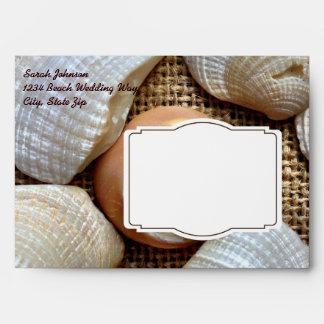 Custom Beach Seashells on Burlap Print Envelopes