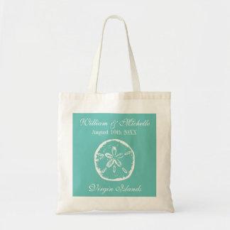 Custom beach shell destination wedding tote bags