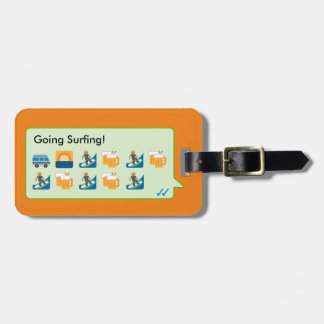 Custom beach surfing emoticons phone message… tag for luggage