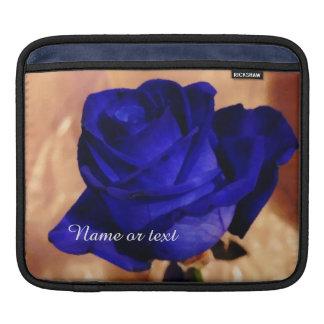 Custom beautiful blue rose with custom text iPad sleeves