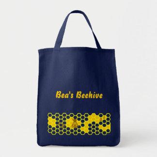 Custom Bee and Honeycomb Pattern Tote Bag