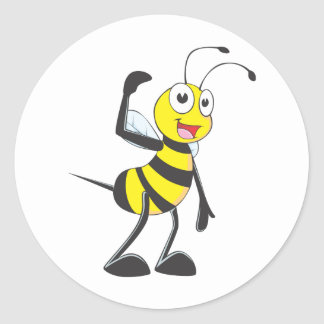 """Custom Bee in """"Come Here"""" Hand Gesture Classic Round Sticker"""