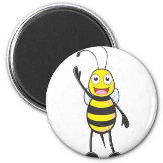 Custom Bee Waving His Hand 2 Inch Round Magnet