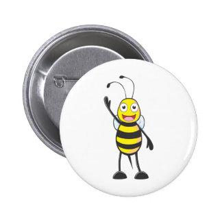 Custom Bee Waving His Hand Pinback Button