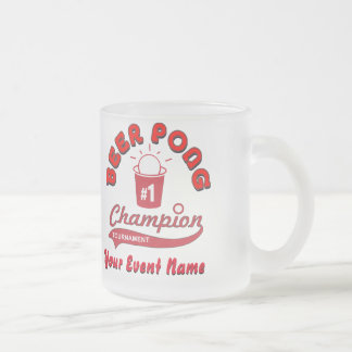 Custom Beer Pong Trophy Frosted Glass Coffee Mug