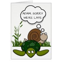 Custom Belated Birthday Card: Snail and Turtle Card