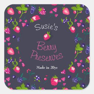 Custom•Berry Preserves DIY Canning Square Sticker