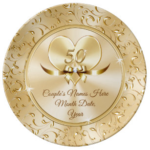 Custom Best 50th Anniversary Gifts for Couples Dinner Plate
