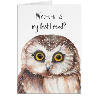 Custom Best Friend, Cute Owl Humor Card