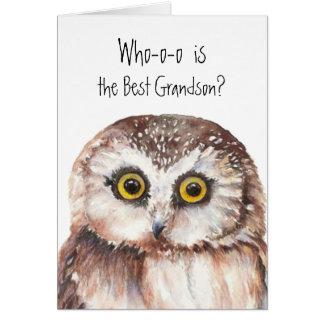 Custom Best Grandson Cute Owl Humor Card