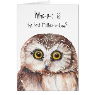 Custom Best Mother-in-Law Cute Owl Humor Greeting Card