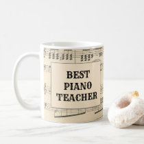 Custom Best Piano Teacher Vintage Sheet Music Coffee Mug