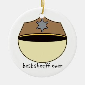 Custom Best Sheriff Ever Ceramic Ornament